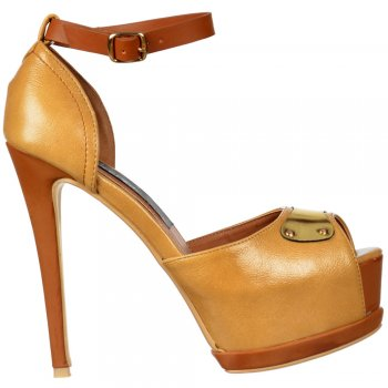 Shoekandi Leather Effect Two Tone Peep Toe Stiletto Heel - Gold Metal Badge Detail - Camel