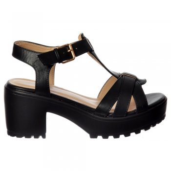 Shoekandi Low Block Heel T Bar Cleated Sole Summer Sandals - Black, White