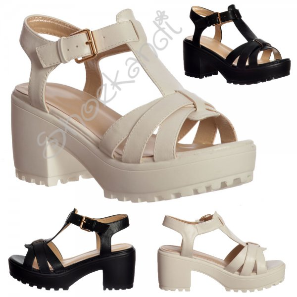 1883dc3f9 Shoekandi Low Block Heel T Bar Cleated Sole Summer Sandals - Black ...