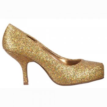 Shoekandi Low Kitten Heel - Court Shoes - Gold Glitter