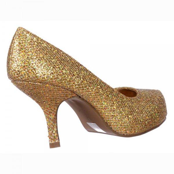 f48564c2ad5 ... Shoekandi Low Kitten Heel Court Shoes Gold Glitter Shoekandi