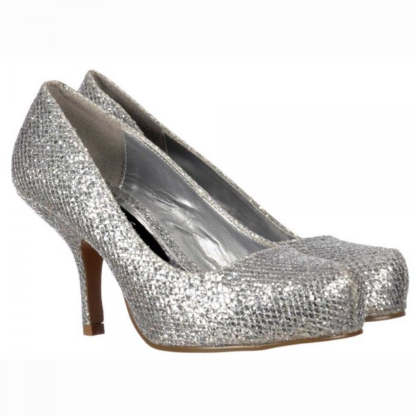 Shoekandi Low Kitten Heel - Court Shoes - Silver Glitter ...