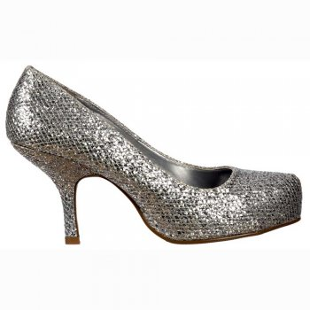 Shoekandi Low Kitten Heel - Court Shoes - Silver Glitter