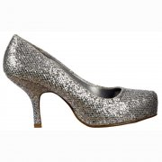 Low Kitten Heel - Court Shoes - Silver Glitter