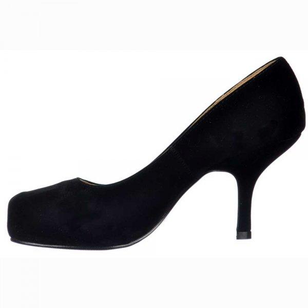 060c7d14df2 Shoekandi Low Kitten Heel - Evening   Work Court Shoes - Black Suede ...