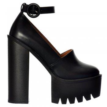 Shoekandi Macey Platform Cleated Sole High Heels - Ankle Strap- Black, White