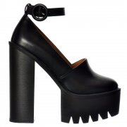 Macey Platform Cleated Sole High Heels - Ankle Strap- Black, White