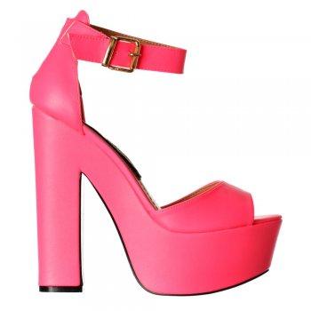 Shoekandi Melisa Peep Toe Ankle Strap Platform High Heels - Hologram - Gold, Silver, Hot Fucshia Pink