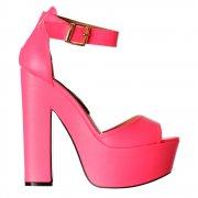 Melisa Peep Toe Ankle Strap Platform High Heels - Hologram - Gold, Silver, Hot Fucshia Pink