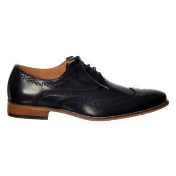 Shoekandi Mens Belgravia Smart Brogue Shoe Leather Look - Navy Blue