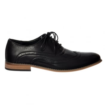 Shoekandi Mens Irwell Smart Brogue Shoe Leather Look - Black, Brown