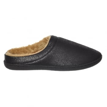 Shoekandi Mens Luxury Fur Lined Slip On Mule Slippers With Hard Wearing Sole - Black, Brown