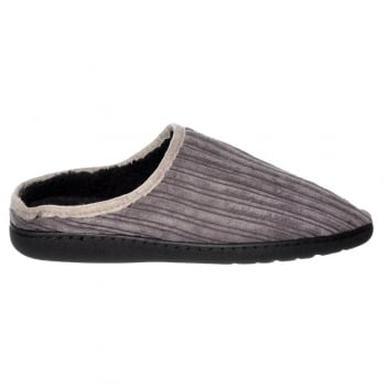 Shoekandi Mens Luxury Fur Lined Slip On Mule Slippers With Hard Wearing Sole - Black, Grey