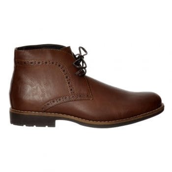 Shoekandi Mens Smart Brogue Boot Round Toe Leather Look - Brown