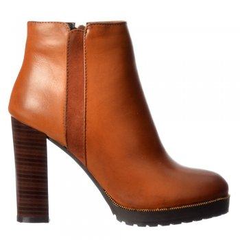 Shoekandi Mid Block Heel Ankle Boot - Gold Studs, Elasticated Sides - Black, Tan, Burgandy