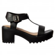 Mid Block Heel Cleated Sole T Bar Summer Sandals - Black, White