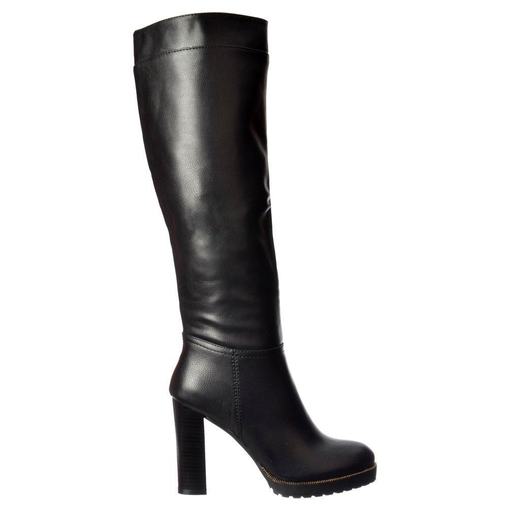 shoekandi mid block heel knee high winter boot gold