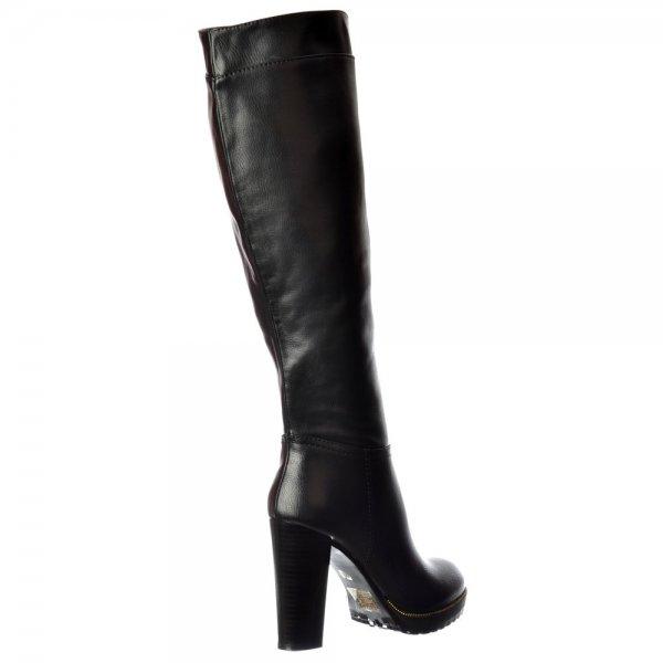 Shoekandi Mid Block Heel Knee High Winter Boot - Gold