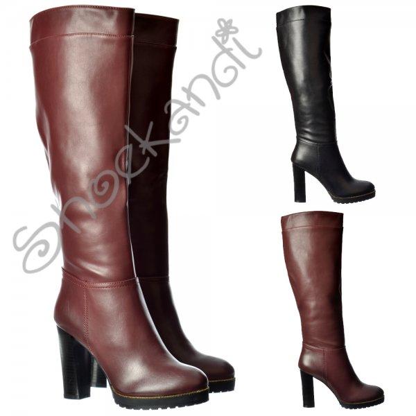 b1807c06f3c Shoekandi Mid Block Heel Knee High Winter Boot - Gold Studs - Black ...