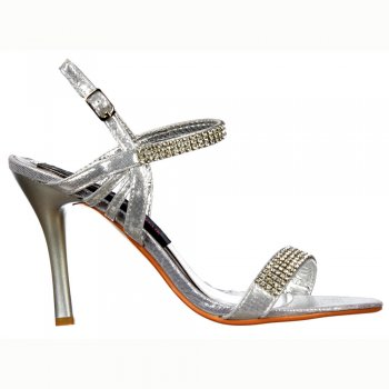 Shoekandi Mid Heel Diamante Crystal Ankle Strap - Stiletto Shoes - Silver