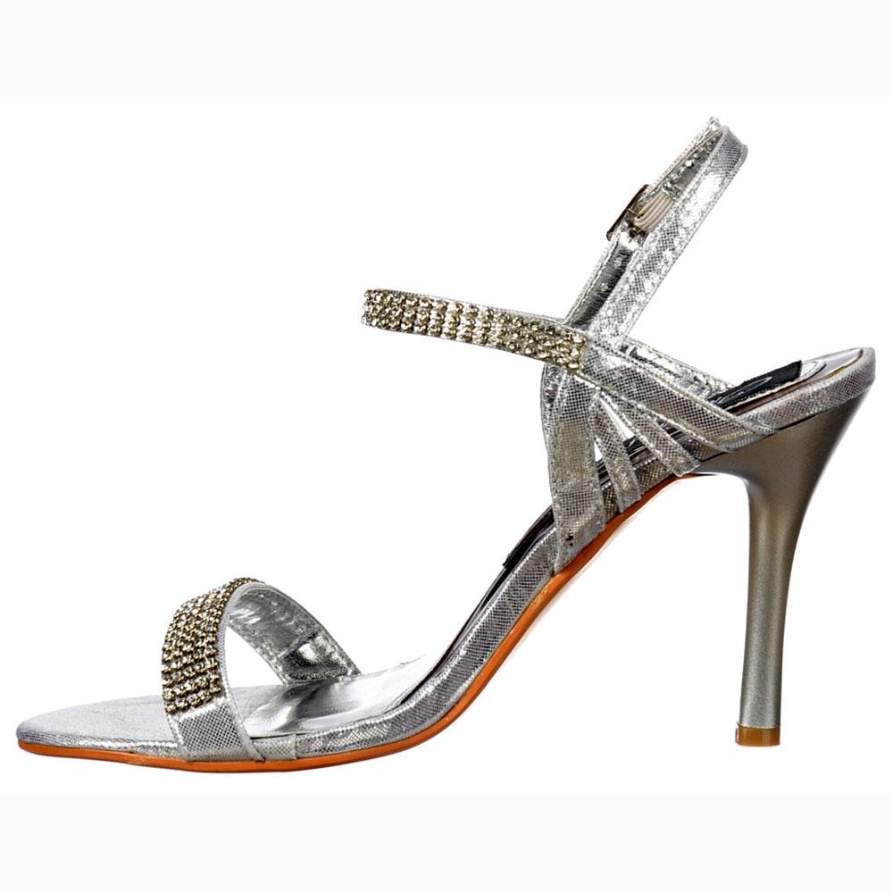 ce3f4ab5514 ... Shoekandi Mid Heel Diamante Crystal Ankle Strap - Stiletto Shoes -  Silver ...