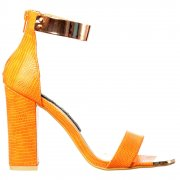 Mid Heels Peep Toe - High Back Strappy Sandals Gold Cuff - Black, White, Orange, Silver