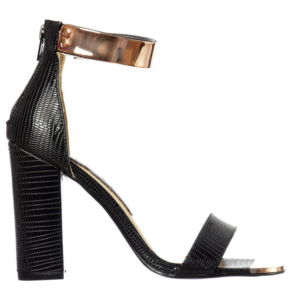 ab667caad726 Shoekandi Mid Heels Peep Toe - High Back Strappy Sandals Gold Cuff - Black