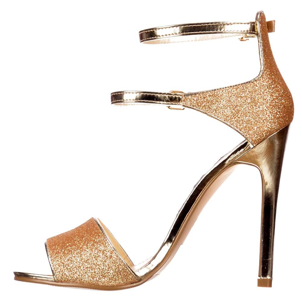 d896ff1d476f1 ... Shoekandi Mid Heels Peep Toe - High Back Strappy Sandals - Gold Glitter  ...