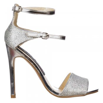 Shoekandi Mid Heels - Peep Toe High Back Strappy Sandals - Silver Glitter