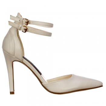 Shoekandi Mid Heels Pointed Toe - High Back Strappy Stilettos - White