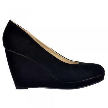 Shoekandi Mid Low Heel - Wedge Court Shoes - Black Suede