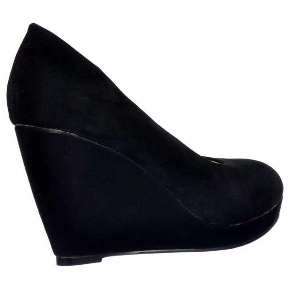 shoekandi mid low heel wedge court shoes black suede