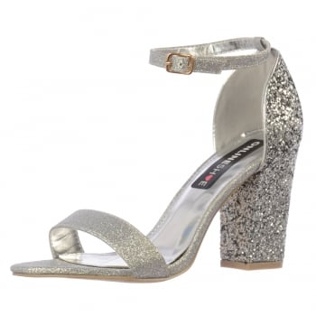 Shoekandi Milan Strappy Glitter Party Heel