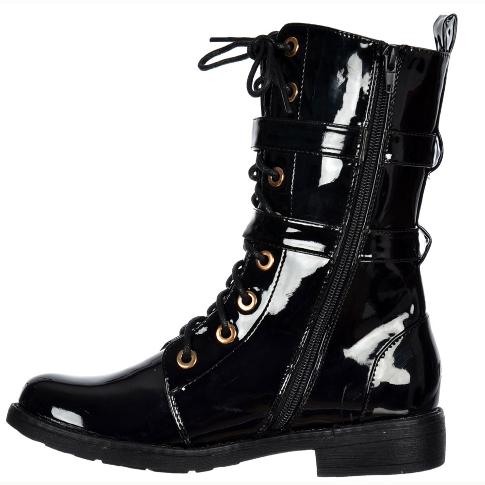 Shoekandi Military Ankle Biker Boot Lace Up And Double