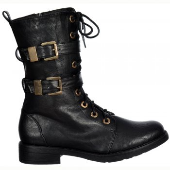 Shoekandi Military Ankle Biker Boot - Lace Up and Double Buckle - Black PU