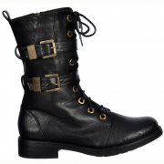 Military Ankle Biker Boot - Lace Up and Double Buckle - Black PU