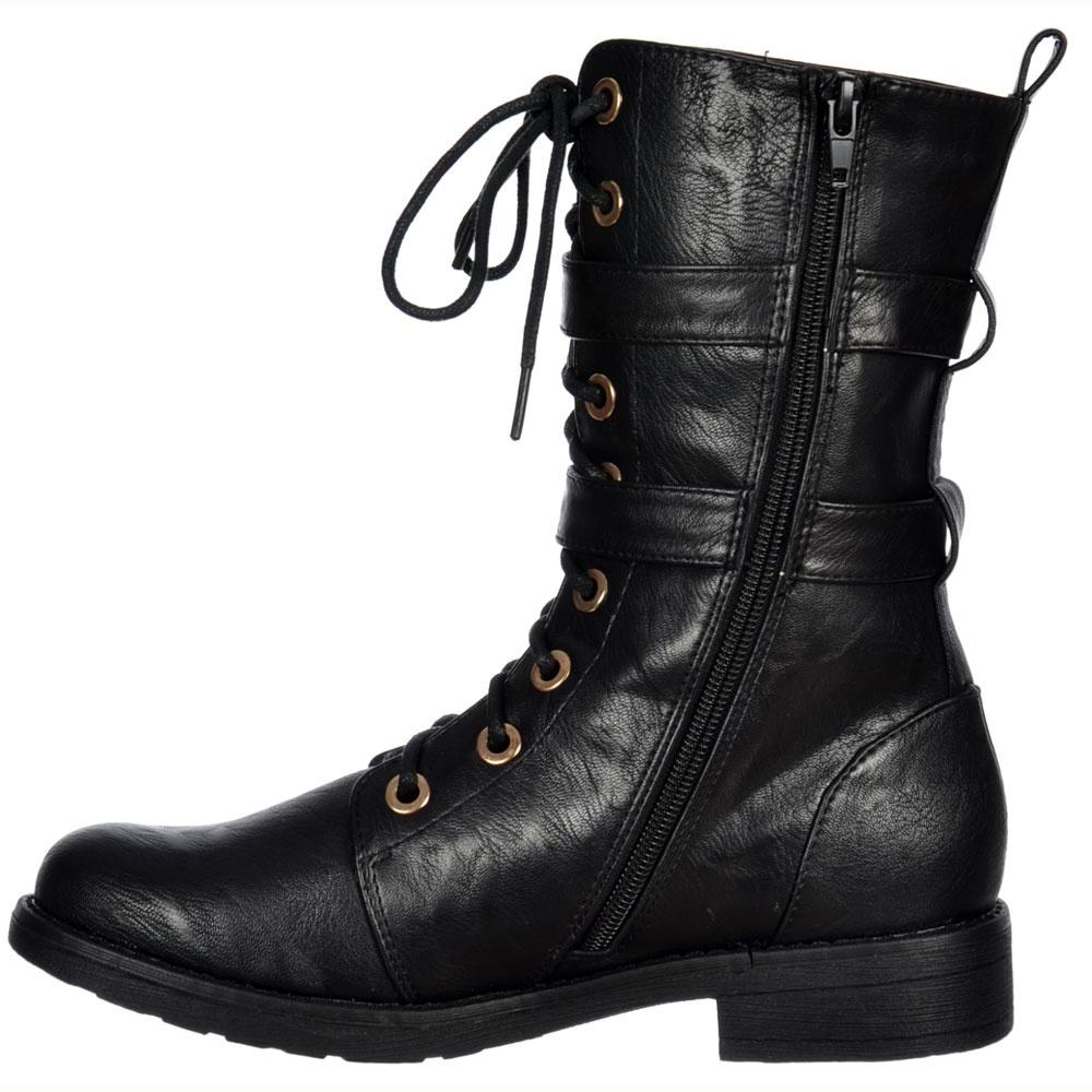 shoekandi ankle biker boot lace up and