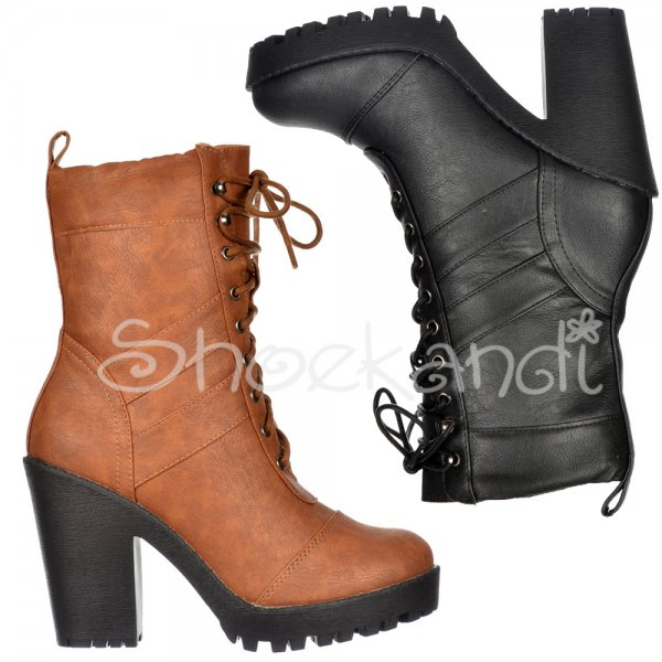 5ac9530075ca Shoekandi Military Ankle Boot - Lace Up With Block Heel - Black ...