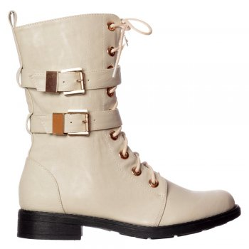 Shoekandi Military Biker Ankle Boot - Lace Up and Double Buckle - Off White PU