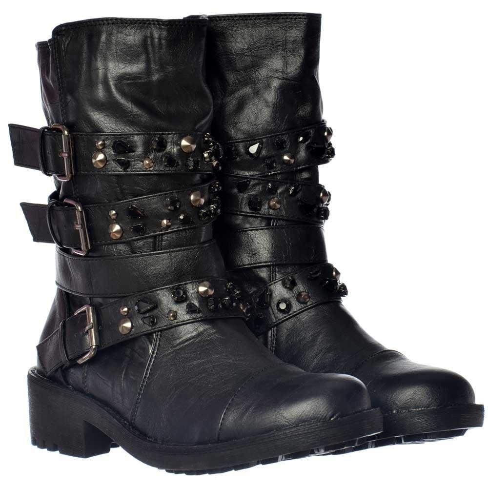 Shoekandi Military Biker Ankle Boots Buckles And