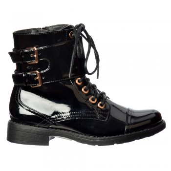 Shoekandi Military Biker Short Ankle Boot - Lace Up and Double Buckle - Black Patent, Black PU