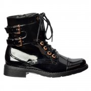 Military Biker Short Ankle Boot - Lace Up and Double Buckle - Black Patent, Black PU