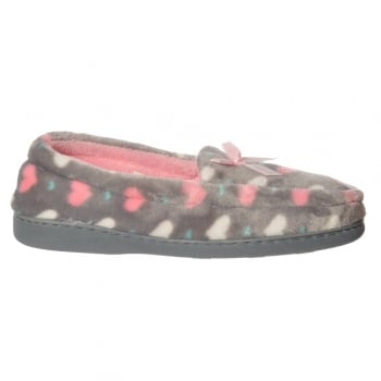 Shoekandi Moccasin Warm Slipper With Hard Wearing Sole - Grey, Pink