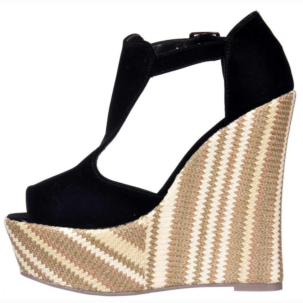 Shoekandi Multi Woven Wedge Peep Toe Platforms Ankle