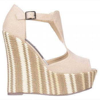 Shoekandi Multi Woven Wedge Peep Toe Platforms - Ankle Strap Sandals - Nude / Cream