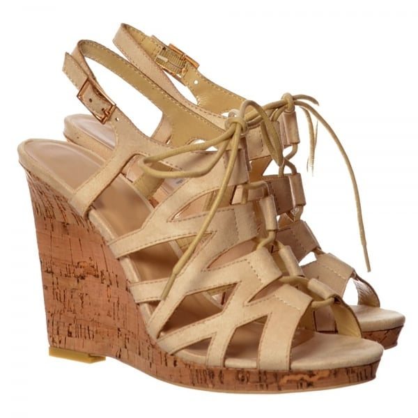 b61ccce68051 Shoekandi Open Toe Gladiator Lace UP Cork Wedge Heel Sandal - Nude ...