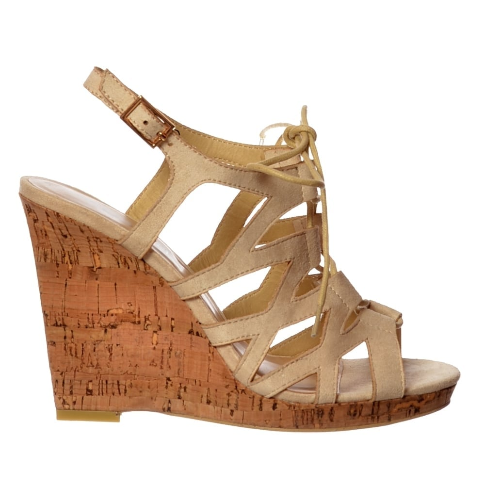 2d5b8b883d95 Open Toe Gladiator Lace UP Cork Wedge Heel Sandal - Nude