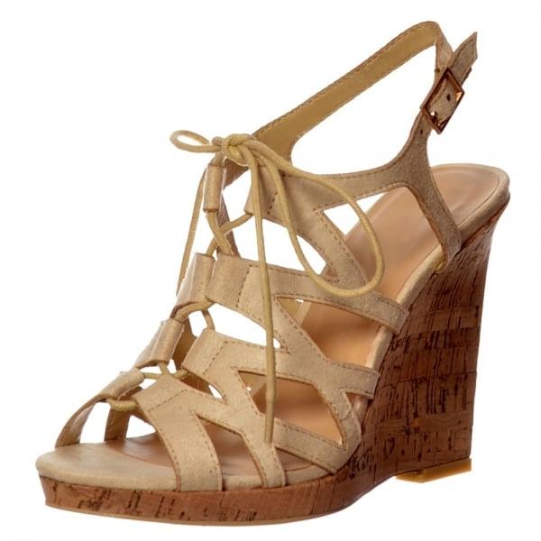 86312e602b3 Shoekandi Open Toe Gladiator Lace UP Cork Wedge Heel Sandal - Nude ...