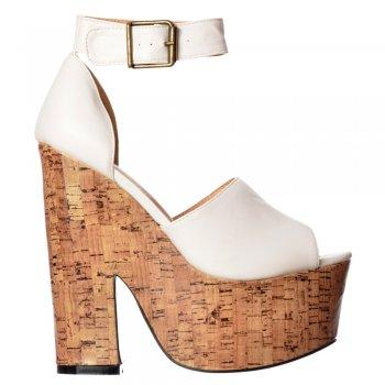 Shoekandi Open Toe Strappy Platform Demi Wedge Party Cork High Heels - Black, White, Tan