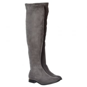 Shoekandi Over The Knee Thigh High Flat Metal Trim Boot - Black Suede, Grey Suede